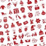 Χριστούγεννα, νέα σκιαγραφία εικονιδίων έτους άνευ ραφής Στοκ Εικόνα