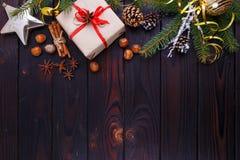 Χριστούγεννα, νέα σύνθεση διακοπών έτους των διακοσμήσεων τροφίμων, ομο στοκ εικόνα