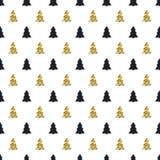 Χριστούγεννα, νέο άνευ ραφής σχέδιο έτους με το χριστουγεννιάτικο δέντρο background colors holiday red yellow Χρυσό χριστουγεννιά Στοκ φωτογραφία με δικαίωμα ελεύθερης χρήσης