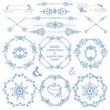 Χριστούγεννα, νέο σύνολο ντεκόρ έτους Στεφάνι χειμερινών πλαισίων απεικόνιση αποθεμάτων
