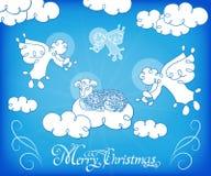 Χριστούγεννα Οι άγγελοι τραγουδούν στα σύννεφα διανυσματική απεικόνιση