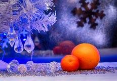 Χριστούγεννα, πορτοκάλι, ταπετσαρία Φωτογραφία στο παλαιό ύφος εικόνας Στοκ Εικόνες