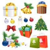 Χριστούγεννα που διακοσμούν τα στοιχεία καθορισμένα Στοκ Εικόνες