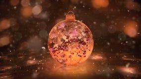 Χριστούγεννα που περιστρέφονται το χρυσό πάγου γυαλιού μπιχλιμπιδιών βρόχο υποβάθρου πετάλων χιονιού ζωηρόχρωμο ελεύθερη απεικόνιση δικαιώματος