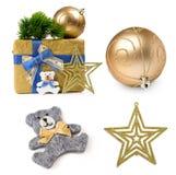 Χριστούγεννα που τίθενται με τα δώρα και τις διακοσμήσεις Στοκ εικόνες με δικαίωμα ελεύθερης χρήσης