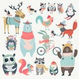 Χριστούγεννα που τίθενται με τα χαριτωμένα ζώα, συρμένο χέρι ύφος διανυσματική απεικόνιση
