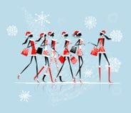Χριστούγεννα που ψωνίζουν, κορίτσια santa με τις τσάντες απεικόνιση αποθεμάτων