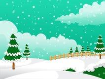 Χριστούγεννα σήμερα στο χιόνι και το δέντρο Στοκ Φωτογραφία