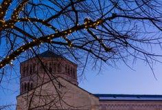 Χριστούγεννα σε Trento, μια γοητευτική παλαιά πόλη με τα φω'τα Χριστουγέννων Στοκ Φωτογραφίες
