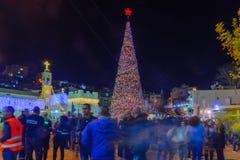 Χριστούγεννα 2017 στην πλατεία της Mary καλά, Ναζαρέτ Στοκ Φωτογραφίες