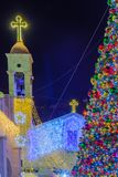 Χριστούγεννα 2017 στην πλατεία της Mary καλά, Ναζαρέτ Στοκ εικόνα με δικαίωμα ελεύθερης χρήσης