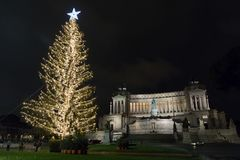 Χριστούγεννα στην πλατεία Venezia, Ρώμη Στοκ φωτογραφία με δικαίωμα ελεύθερης χρήσης