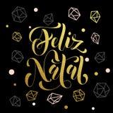 Χριστούγεννα στην Πορτογαλία, γενέθλιος διακοσμητικός χαιρετισμός Feliz διανυσματική απεικόνιση