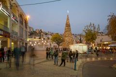 Χριστούγεννα στην πλατεία της Mary καλά, Ναζαρέτ Στοκ Εικόνες