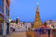 Χριστούγεννα στην πλατεία της Mary καλά, Ναζαρέτ Στοκ Εικόνα