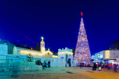 Χριστούγεννα 2016 στην πλατεία της Mary ` s καλά, Ναζαρέτ Στοκ εικόνα με δικαίωμα ελεύθερης χρήσης