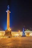 Χριστούγεννα στη Αγία Πετρούπολη Αλέξανδρος Column στο τετράγωνο παλατιών Στοκ φωτογραφία με δικαίωμα ελεύθερης χρήσης