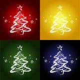 Χριστούγεννα τέσσερα δέντ& Στοκ φωτογραφίες με δικαίωμα ελεύθερης χρήσης