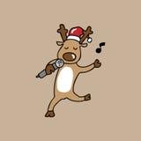 Χριστούγεννα ταράνδων τραγουδιού απεικόνιση αποθεμάτων