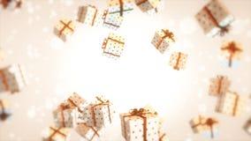 Χριστούγεννα της άσπρης κόκκινης κορδέλλας δώρων Στοκ εικόνα με δικαίωμα ελεύθερης χρήσης