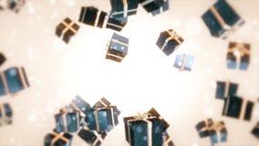 Χριστούγεννα του μπλε δώρων Στοκ Εικόνες
