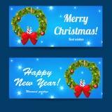Χριστούγεννα χαιρετισμού και νέα baners έτους καθορισμένα Στοκ εικόνα με δικαίωμα ελεύθερης χρήσης