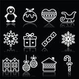 Χριστούγεννα, χειμερινά άσπρα εικονίδια με το κτύπημα στο Μαύρο Στοκ Εικόνες