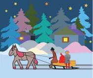 Χριστούγεννα χειμερινού βραδιού ένα όχημα με ένα άλογο διανυσματική απεικόνιση