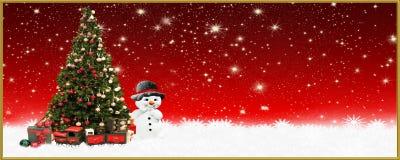 Χριστούγεννα: Χριστούγεννα: Χριστουγεννιάτικο δέντρο και χιονάνθρωπος, έμβλημα, υπόβαθρο Στοκ Εικόνες
