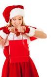 Χριστούγεννα: Ψωνίζοντας κορίτσι Santa Στοκ Φωτογραφίες
