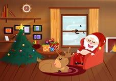 Χριστούγεννα, ύπνος Άγιου Βασίλη με τον τάρανδο στο σπίτι, επίπεδο inte απεικόνιση αποθεμάτων