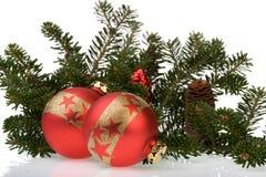 Χριστούγεννα 5 σφαιρών στοκ εικόνα με δικαίωμα ελεύθερης χρήσης