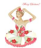 Χριστούγεννα Ballerina με τα λουλούδια Στοκ Φωτογραφίες