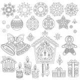 Χριστούγεννα doodles και zentangle διακοσμήσεις ελεύθερη απεικόνιση δικαιώματος