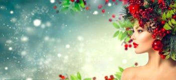 Χριστούγεννα hairstyle Διακοπές Makeup Στοκ Φωτογραφίες
