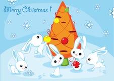 Χριστούγεννα hares2 καρτών ελεύθερη απεικόνιση δικαιώματος