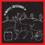 Χριστούγεννα raindear στο χιόνι διανυσματική απεικόνιση