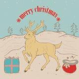 Χριστούγεννα raindear στο χιόνι ελεύθερη απεικόνιση δικαιώματος
