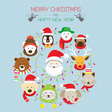 Χριστούγεννα: Santa & ζώα ελεύθερη απεικόνιση δικαιώματος