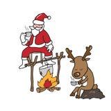 Χριστούγεννα Santa και καφές κατανάλωσης ταράνδων διανυσματική απεικόνιση