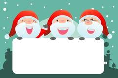 Χριστούγεννα Santa και χαιρετισμού και νέα κάρτα έτους, Άγιος Βασίλης που τιτιβίζουν πίσω από την αφίσσα Στοκ φωτογραφία με δικαίωμα ελεύθερης χρήσης