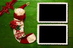 Χριστούγεννα Santa δύο πλαίσια φωτογραφιών Στοκ εικόνες με δικαίωμα ελεύθερης χρήσης
