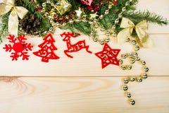 Χριστούγεννα simbols στο ξύλο Στοκ Εικόνα