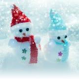 Χριστούγεννα Snowmmen, ήλιος και χιονοθύελλα στοκ εικόνες