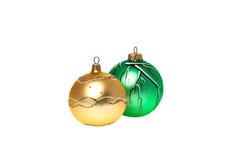 Χριστούγεννο-νέες πράσινες και κίτρινες σφαίρες έτους Στοκ Εικόνες