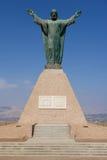 Χριστός του μνημείου ειρήνης, που αντέχει τις περουβιανές και της Χιλής καλύψεις των όπλων στο λόφο EL Morro σε Arica, Χιλή Στοκ Εικόνα