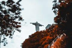 Χριστός το άγαλμα απελευθερωτών που περιβάλλεται από τα δέντρα πιπεροριζών Στοκ φωτογραφία με δικαίωμα ελεύθερης χρήσης