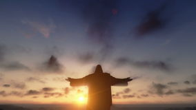 Χριστός το Redemeer στο ηλιοβασίλεμα, Ρίο ντε Τζανέιρο, κλίση κινηματογραφήσεων σε πρώτο πλάνο, μήκος σε πόδηα αποθεμάτων απόθεμα βίντεο