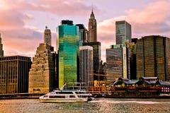 Χρονική άποψη ηλιοβασιλέματος του Μανχάταν, Νέα Υόρκη, ΗΠΑ Στοκ Εικόνες
