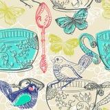 Χρονική απεικόνιση τσαγιού με τα λουλούδια και το πουλί, άνευ ραφής σχέδιο Στοκ Φωτογραφία